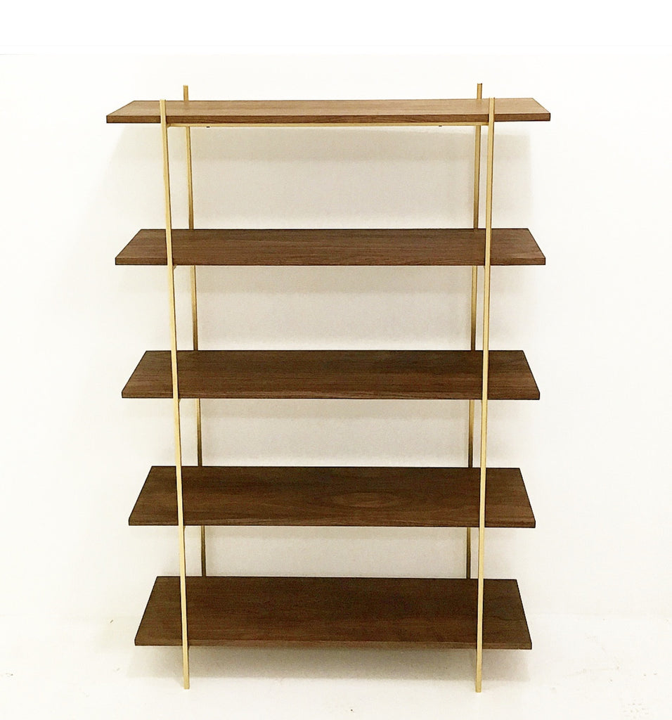 MidCentury Style Walnut & Gold Wall Unit