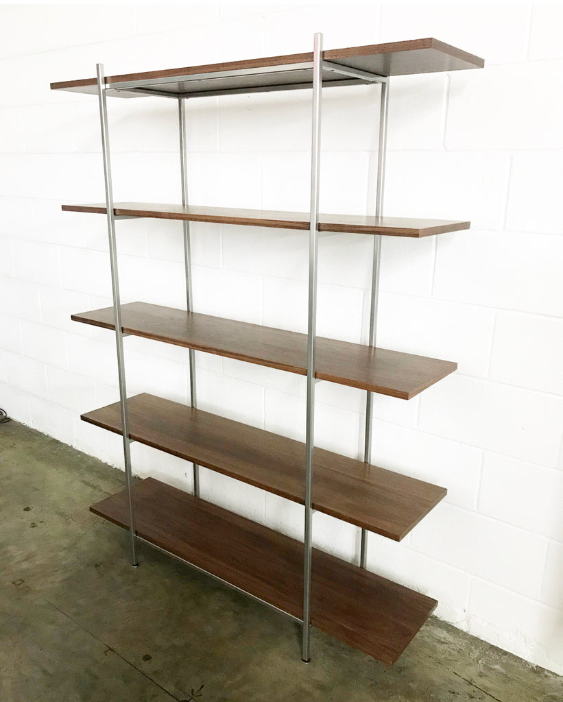 Walnut & Chrome Steel Bookshelf