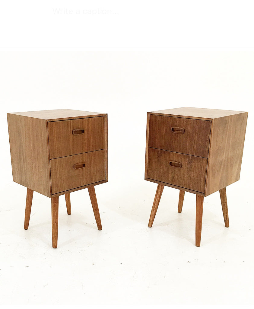 Walnut Nightstands- Double Drawers