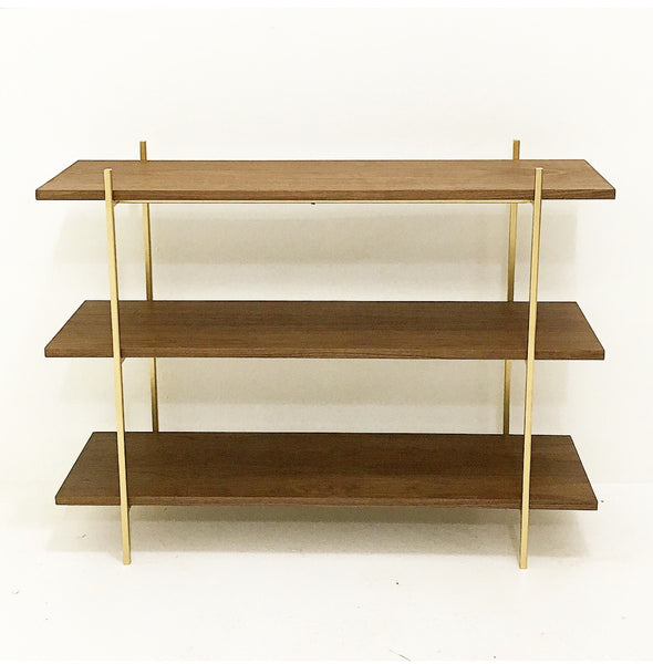 MidCentury Style Walnut and Gold Low Shelf