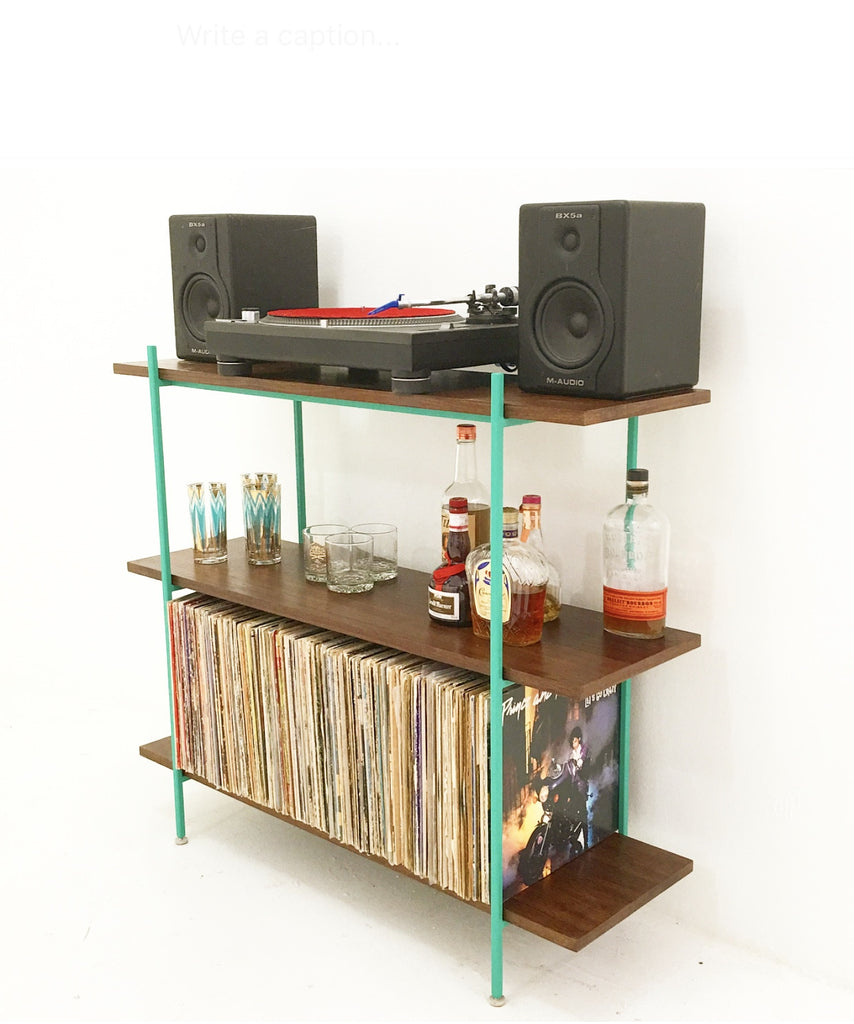 Walnut and Teal Metal Low Shelf