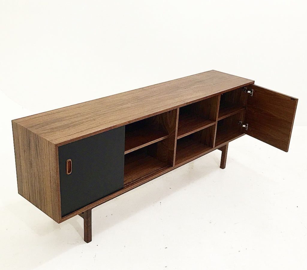 Multi Colored Drawer Walnut Credenza