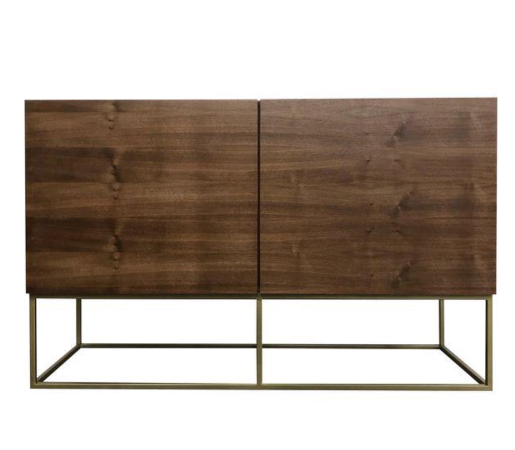 Walnut & Gold Base Credenza- 48