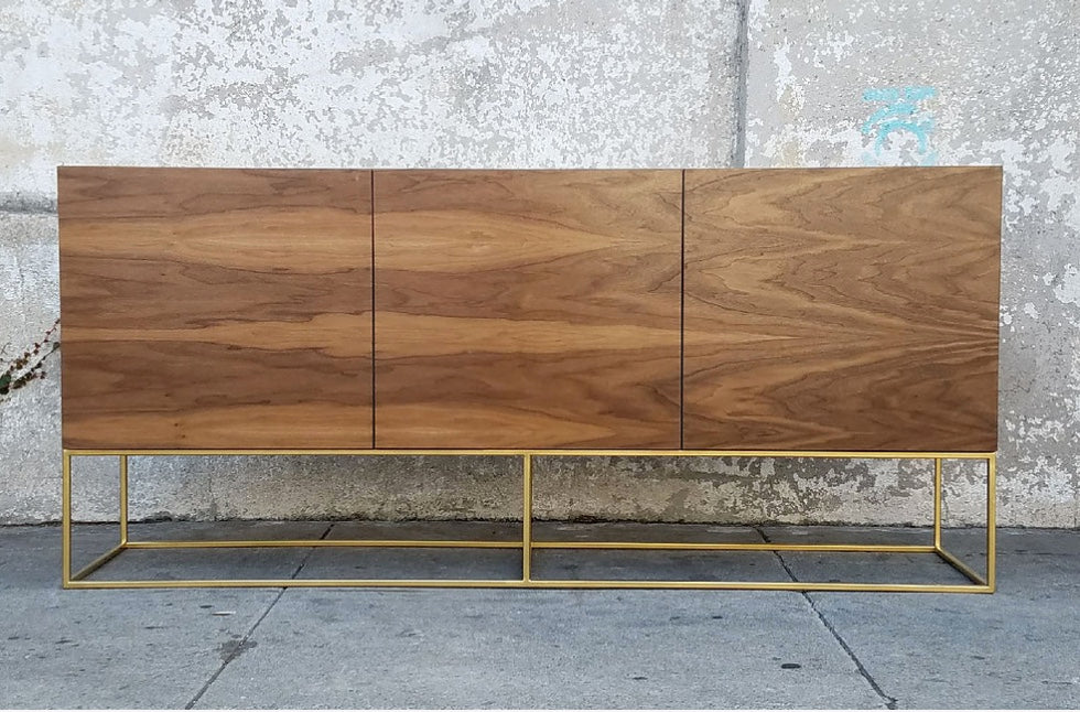 Walnut & Gold Base Credenza-60