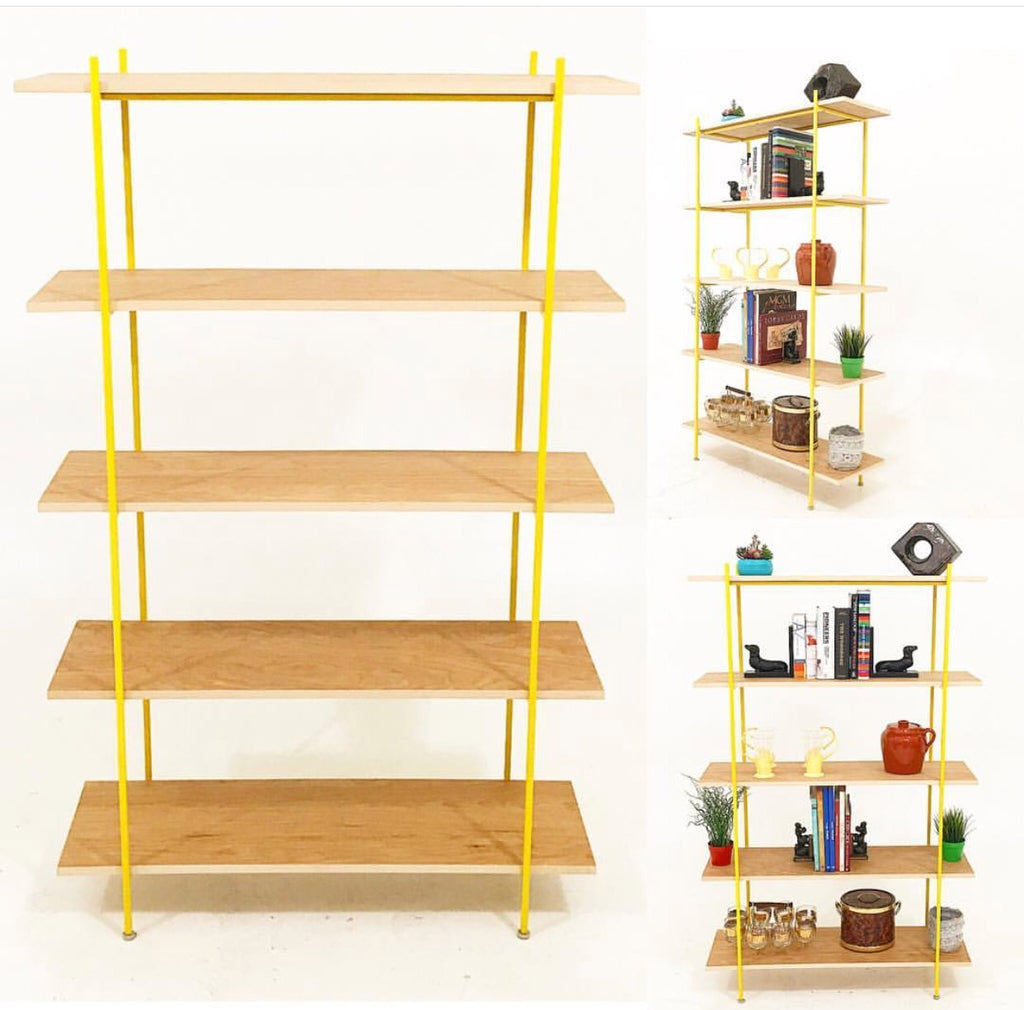 Walnut & Yellow Frame Bookshelf