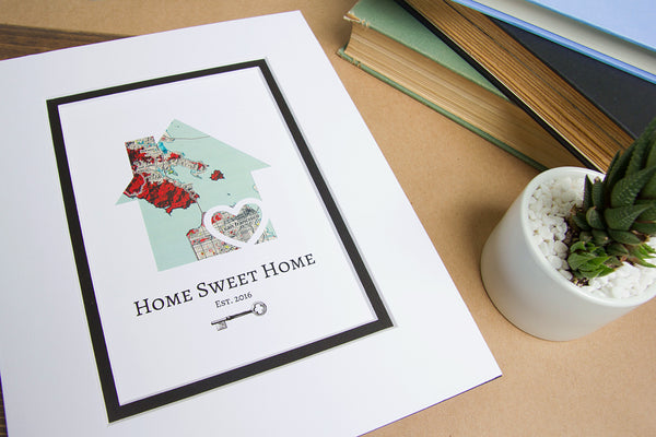 Home Sweet Home - Personalized Home Map Gift- New House Housewarming Gift- Closing Gift Realtor
