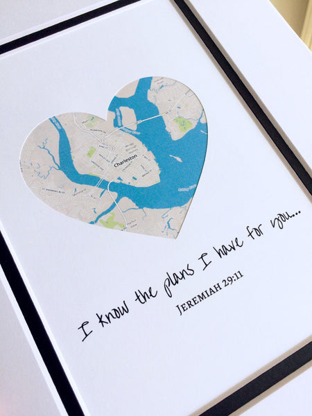 Personalized Map Art- Custom Anniversary or Wedding Gift - Gifts for Wives or Husbands