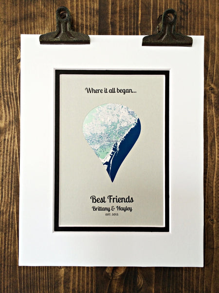 Where It All Began - Gift For Best Friends - Long Distance Friendship Relationship Gift - Unique Gifts