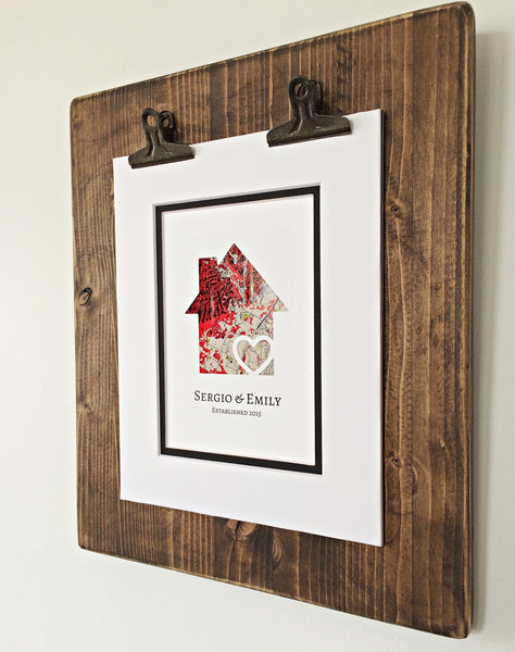 Personalized Home Map Gift- First Home Gift- New House Housewarming Gift- First Anniversary
