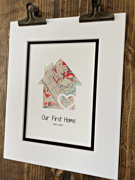 Our First Home - Personalized Home Map Gift- New House Housewarming Gift- Closing Gift Realtor