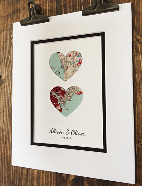 Map Art- First Anniversary or Wedding Gift- Map Hearts- One Year 1st Anniversary- Home Decor