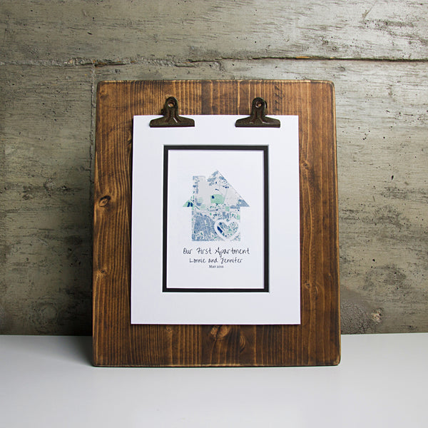 Our First Apartment - Personalized Home Map Gift- New House Housewarming Gift- Closing Gift Realtor
