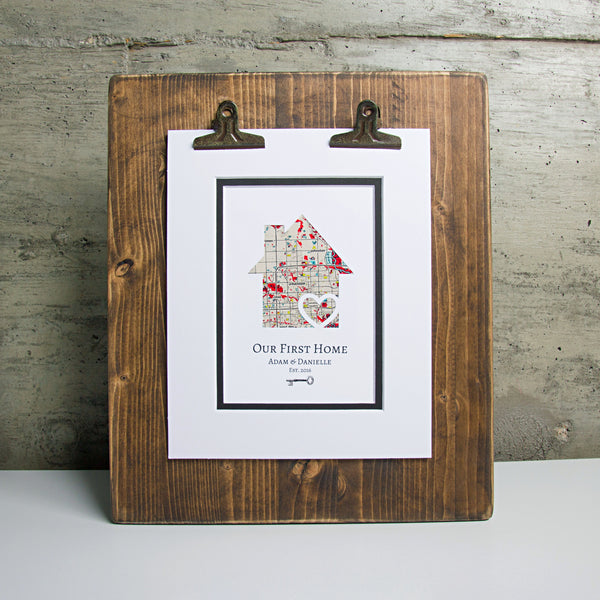 Our First Home - Personalized Home Map Gift w/ Key - New House Housewarming Gift- Closing Gift Realtor