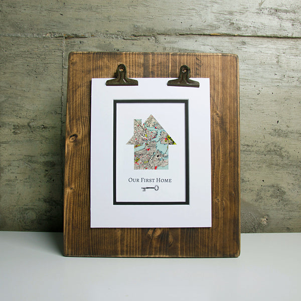 Our First Home - Personalized Home Map Key Gift- New House Housewarming Gift- Closing Gift Realtor