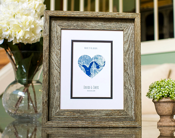 Where It All Began, Heart Map Print, Custom Wedding Gift for Couples, Wedding Gift Art, Wedding Anniversary Gift, Engagement Gift