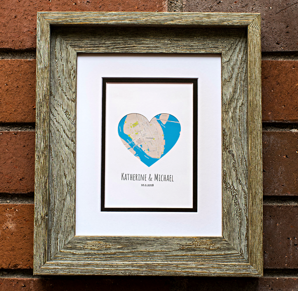 Heart Map Anniversary Gift, Engagement or Wedding Gift for Couples, 1st Anniversary, Bridal Shower Long Distance, Personalized Map Art Print