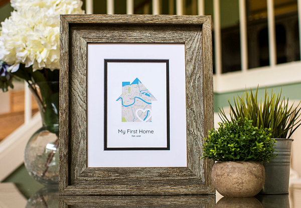 My First Home, New Home Housewarming Gift, Personalized Map, Realtor Closing Gift, New Homeowner, New Homeowners Gift
