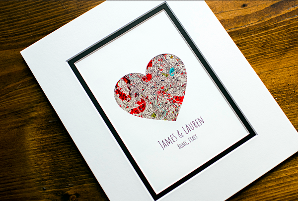 Wedding Anniversary Gifts For Couples: Heart Map Anniversary Gift, Engagement Or Wedding Gift For