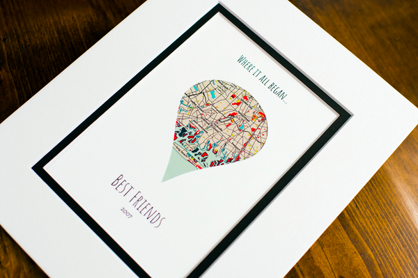 Where It All Began - Unique Map Gifts for Friends - Gift For Best Friends- Distance Friendship Relationship Gift- BFFs Christmas Present