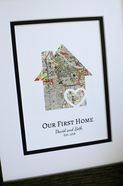 Our First Home, New Home Housewarming Gift, Personalized Map, Realtor Closing Gift, Realtor Client Gift, Personalized First Home Gift