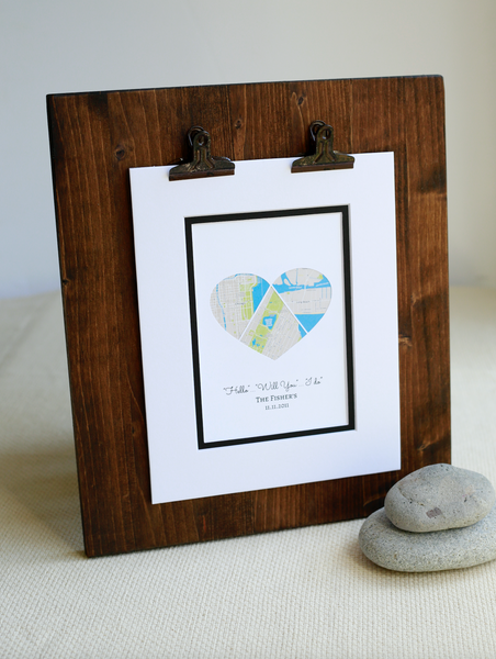 Personalized Map Hearts Gift, First Anniversary Gift,