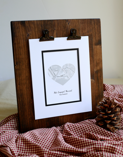 We Met We Married We Live Custom Heart Maps Love Story Map Gift