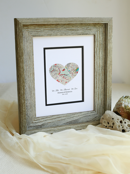 We Met, We Married, We Live, Personalized Map Heart, Love Story Map Gift, One Year 1st Anniversary- Long Distance Relationship Gift