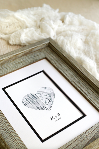Heart Map Anniversary Gift, Engagement or Wedding Gift for Couples, 1st Anniversary, Long Distance Relationship, Personalized Map Art Print