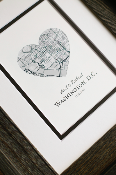 Heart Map Print, Wedding or Engagement Gift, Custom Wedding Gift, Engagement Gift for Couple, Newlyweds Gift, Personalized Map Art Print