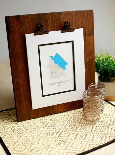 Home Is Where the Heart Is, New Home Housewarming Gift, Personalized Map, Realtor Closing Gift, Realtor Client Gift, Personalized Home Gift