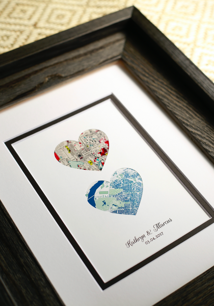 Personalize Wedding Gift- Map Hearts Art- One Year 1st Anniversary- Long Distance Relationship Gift - Couple Newly Engaged - Engagement Gifts for Couple - Couple Gift to Bride Gift from Groom Gift from Bride Gift From Bride to Groom Gift