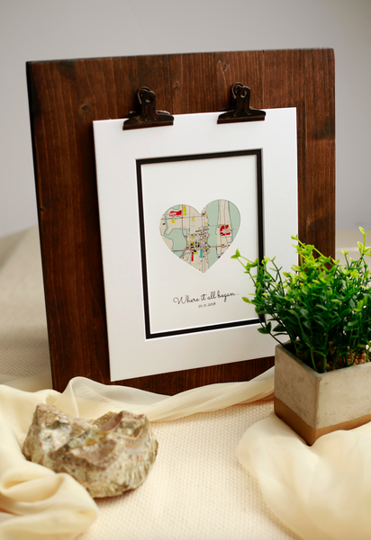 Where It All Began -Unique Gift for Couple Gift Newlyweds Gift Bridal Shower Gift for Bride Custom Map Print Heart Map Print Gift from Bride