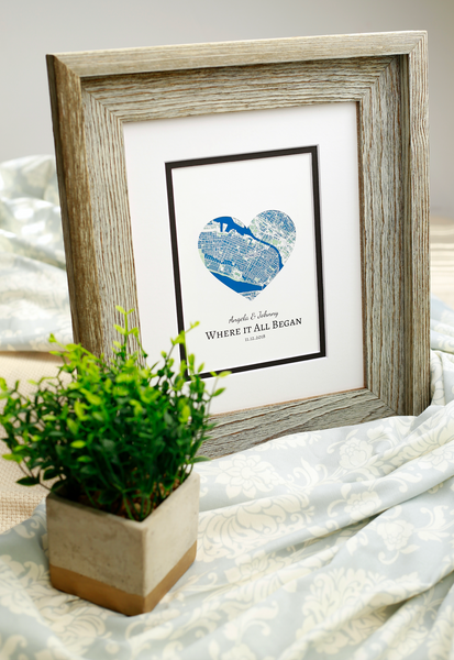 Where It All Began Heart Map Print, Wedding or Engagement Gift, Custom Wedding Gift, Engagement Gift for Couple, Newlyweds Gift