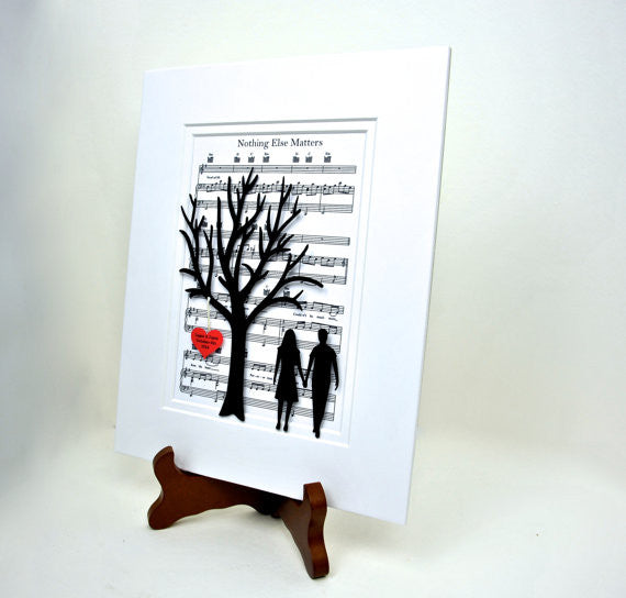 Personalized Anniversary or Wedding Gift - 3D Paper Tree & Hearts on Sheet Music - 1st Anniversary Gift