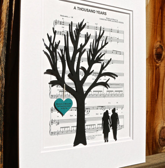Personalized Anniversary or Wedding Gift - 3D Paper Tree & Hearts on Sheet Music - 1st Anniversary