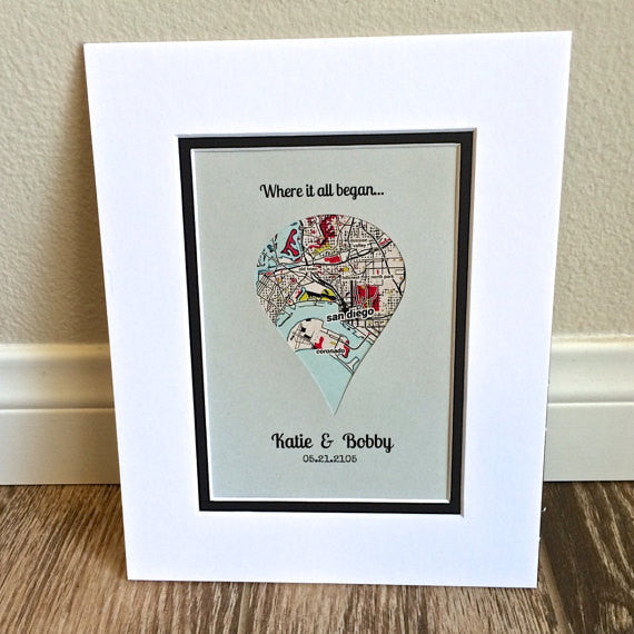 Dropped pin map art gift for girlfriend or boyfriend for 1st year anniversary gift ideas for wife