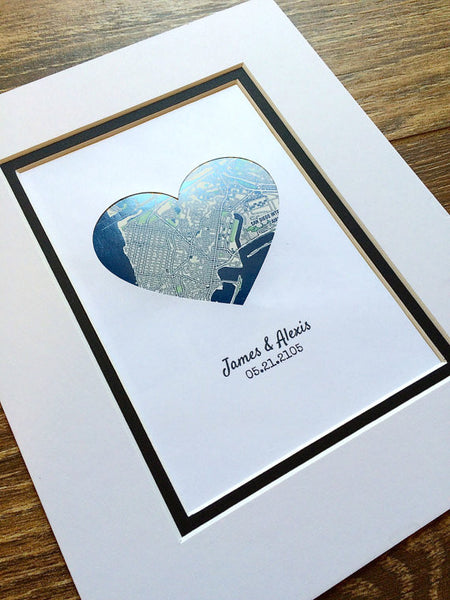 Personalized Map Art- Gift for Girlfriend or Boyfriend- Custom Anniversary or Wedding Gift - Gifts for Wives or Husbands