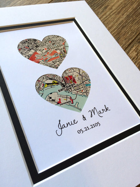 Map Art- Wedding Gift- Map Hearts Art- One Year 1st Anniversary- Long Distance Relationship Gift