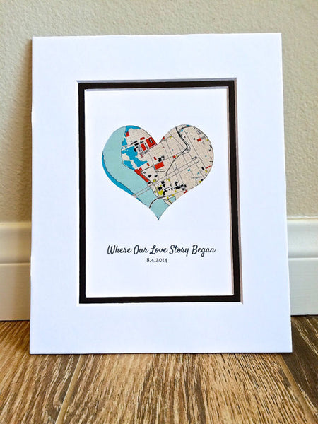 Where Our Love Story Began - Personalized 1st Anniversary or Wedding Gift- Long Distance Map Art