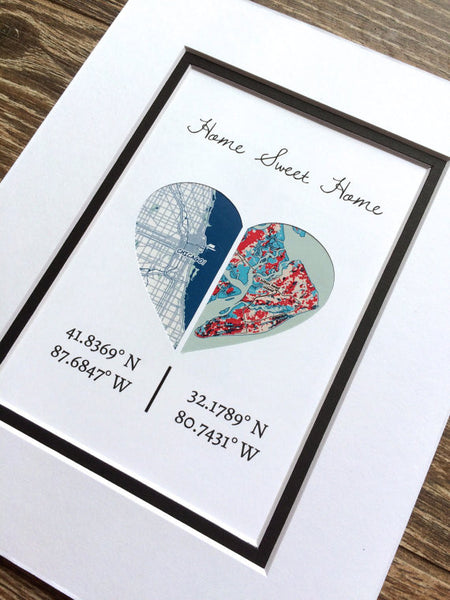 Home Sweet Home -Personalized Map Art- First Anniversary or Wedding Gift- Distance Relationship