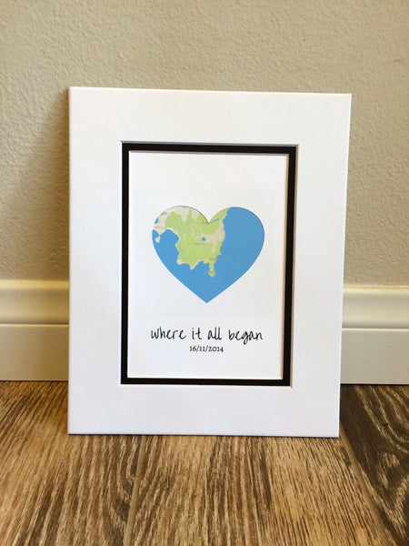 Where It All Began - First Anniversary or Wedding Gift- Map Art- One ...
