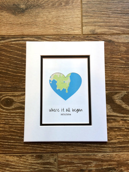 Where It All Began - First Anniversary or Wedding Gift- Map Art- One Year Anniversary Paper Gift