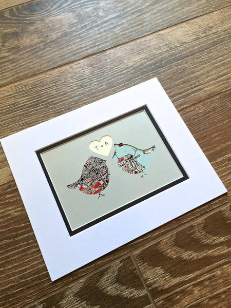 Love Birds Art- Map Art- One Year 1st Anniversary- Long Distance Relationship Gift