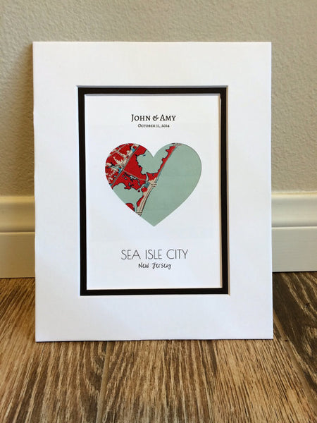 City Map Art- First Anniversary or Wedding Gift- Map Heart- One Year Gift- 1st Paper Anniversary