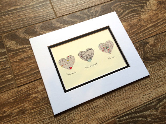 We Met, We Married, We Live -Custom Heart Maps- Love Story Map Gift- One Year 1st Anniversary Gift