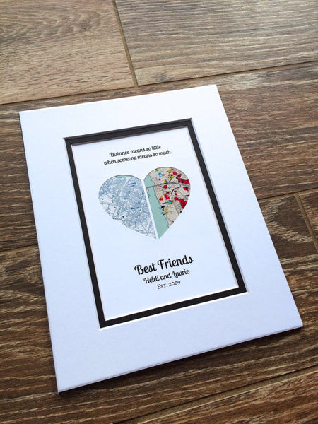 Long Distance Friendship Relationship Gift- Gift for Best Friend- Moving Away or Going Away Present
