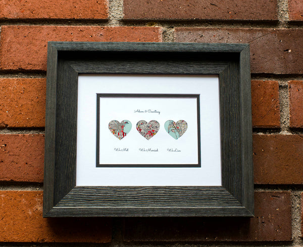 We Met, We Married, We Live, Personalized Map Gift - Husband or Wife First Anniversary Gift - One Year 1st Anniversary- Our Love Story Gift