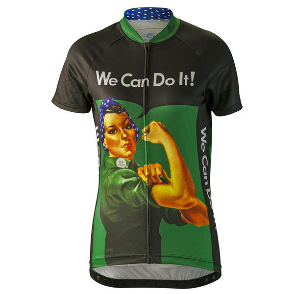 Rosie the Riveter Green Cycling Jersey (women's)