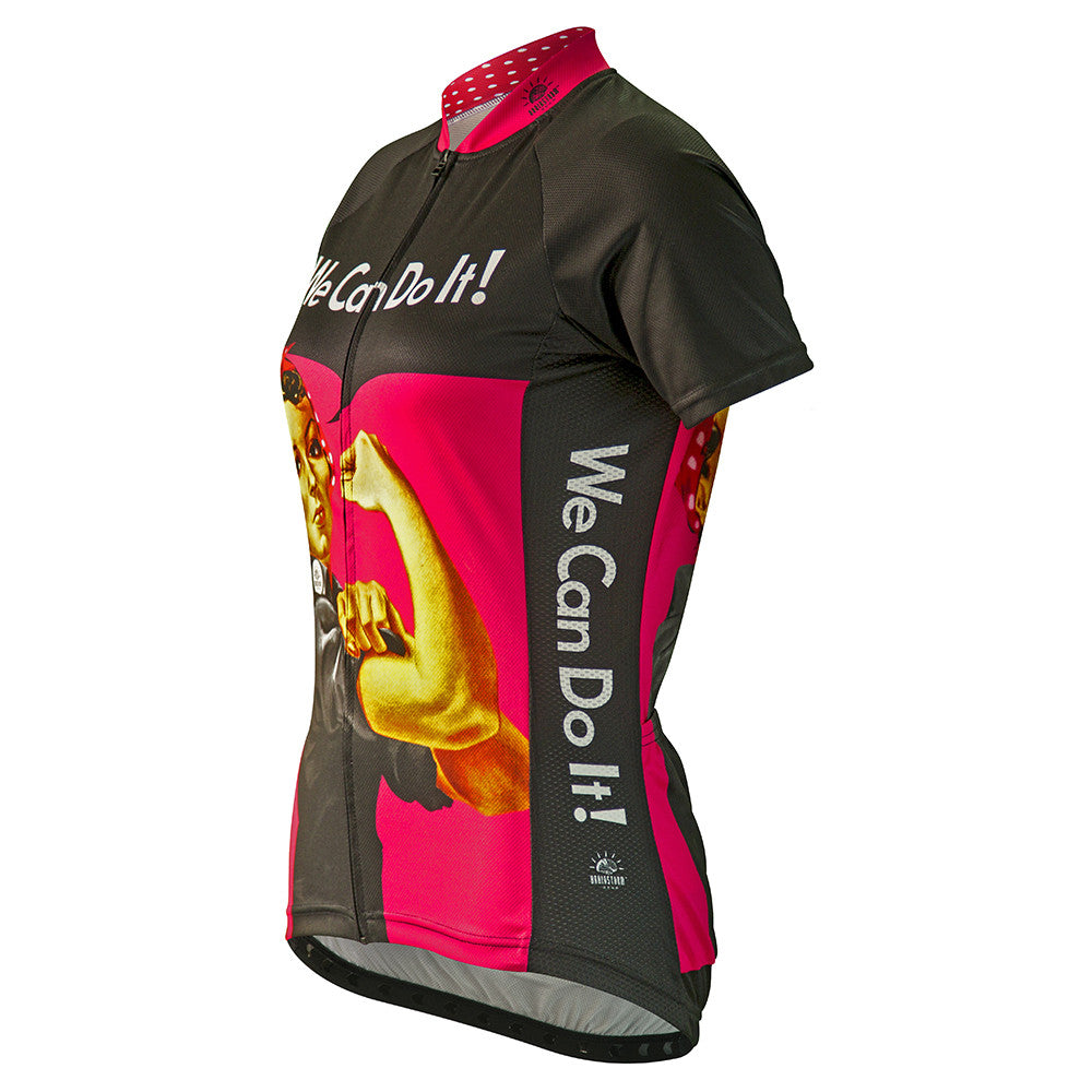 Rosie the Riveter Hot Pink Womens Cycling Jersey   Brainstorm Gear 22dd91f6e