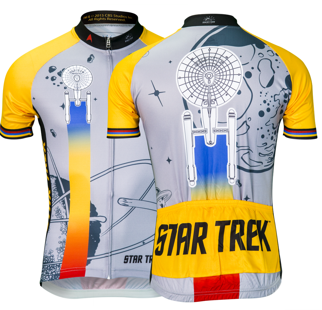 1c77c1676 Star Trek Cycling Jersey Gold Mens Retro Poster Art   Brainstorm Gear